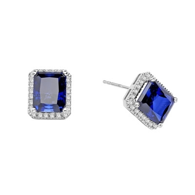 Sapphire Earrings - 4.0 Cts. Emerald cut Sapphire Essence set in center with sparkling Melee around. 8.5 Cts. T.W. set in Platinum Plated Sterling Silver.