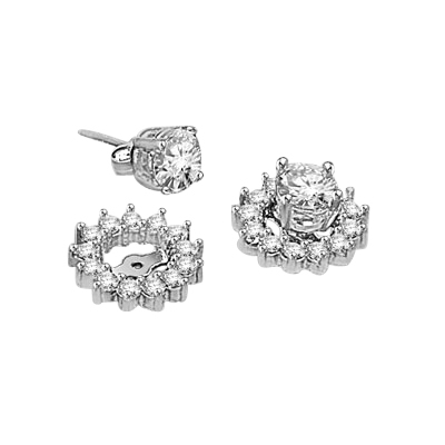 Silver diamond essence earring jackets