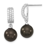 Diamond Essence Designer Earring with round brilliant melee and 10-11 mm black Pearl. Perfect for all occasions, 2.5 Cts. T.W. in Platinum Plated Sterling Silver.