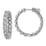 Diamond Essence Platinum Plated Sterling Silver In and Out Hoop earrings 2.0 Cts.t.w. of Round brilliant Melee set in tension setting, with lock closure.