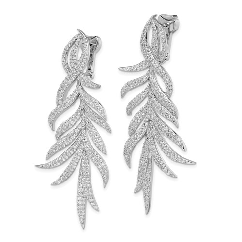 Leaf Designer Dangle Earrings with Simulated Round Brilliant Melee Diamonds by Diamond Essence set in Sterling Silver