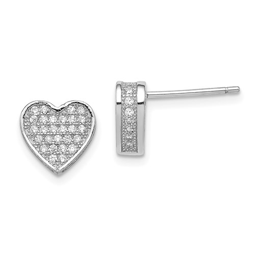 Diamond Essence Heart Shape Earrings, with pave setting melee in Platinum Plated Sterling Silver, 2.0 cts.t.w.
