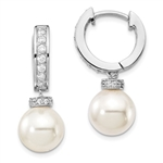 The stunning prong set designer earring with hoop for women with 10 mm synthetic pearl drop and simulated round brilliant melee by Diamond Essence set in platinum plated sterling silver. 3.4 Cts.t.w.