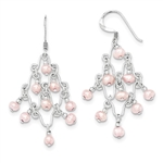 Diamond Essence Sterling Silver Pink Fresh Water Cultured Pearl Fancy Dangle Earrings.