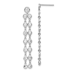 The classic and timeless bezel set dangle drop earrings for women with artificial round brilliant diamonds by Diamond Essence set in platinum plated sterling silver. 1.60 Cts.t.w.