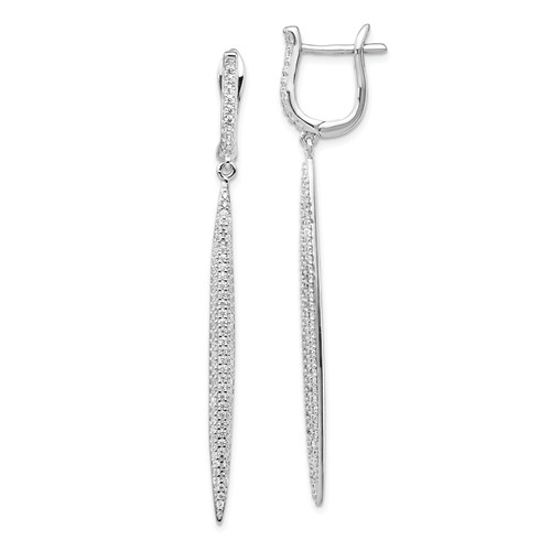 Designer Dangles, 57 mm long, with Diamond Essence Brilliant Melee in pave setting, 1.20 Cts.T.W. in Platinum Plated Sterling Silver. Perfect party wear.