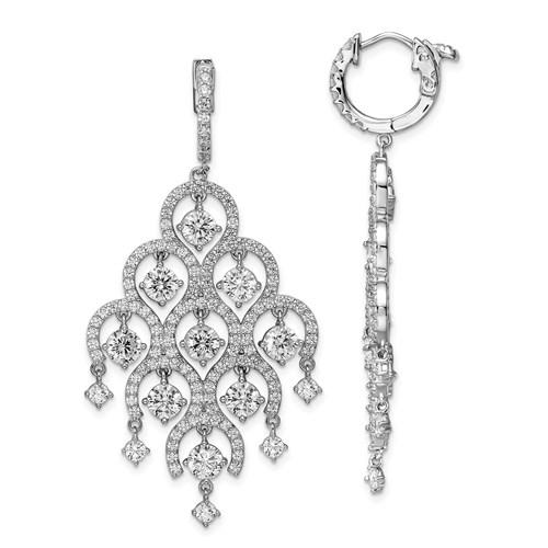 Prong Set Chandelier Earrings with Round Brilliant Diamonds by Diamond Essence set in Sterling Silver