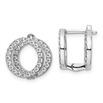 Platinum Plated Sterling Silver Huggies With Two Row Of Round Diamond Essence Stone, 1.20 Cts.T.W.