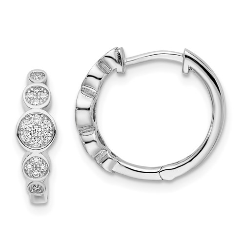 Diamond Essence hinged Hoops with Round Brilliant Stones in platinum Plated Sterling Silver, 0.5 Cts T.W.