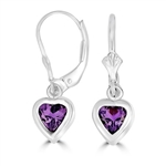 Diamond Essence Heart Amethyst Lever back Earrings, 2.0 cts.t.w. in Sterling Silver.