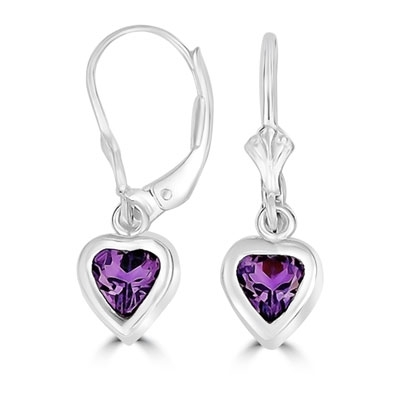 p amethyst purple dangling earrings asp stone birthstone february