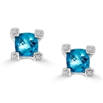 Designer Stud Earrings with 0.75 Ct. each, Cushion Cut Blue Topaz in Melee set four prongs, 1.58 Cts.T.W. in Platinum Plated Sterling Silver.