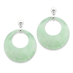 Sterling Silver Earrings with Diamond Essence Jade Circles on Dangle Posts. 47mm length and 36mm width.