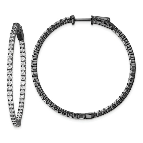 Diamond Essence In and Out, Black Rhodium Plated Sterling Silver Hoop Earring with safety clasp, 2mm thickness and 42 mm length, 3.0 cts.t.w.