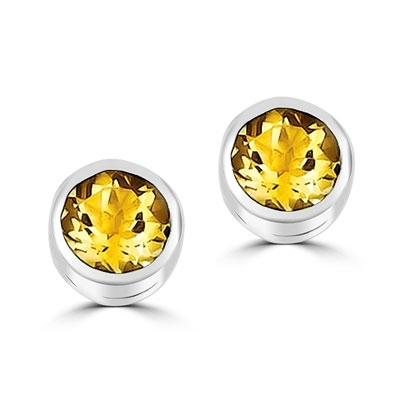 Diamond Essence Bezel Set Citrine Stud, 2 cts.t.w.in Platinum Plated Sterling Silver.