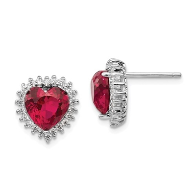 Platinum Plated Sterling Silver Diamond Essence Earrings With Ruby Essence Heart In Center Surrounded By Round Brilliant Melee.