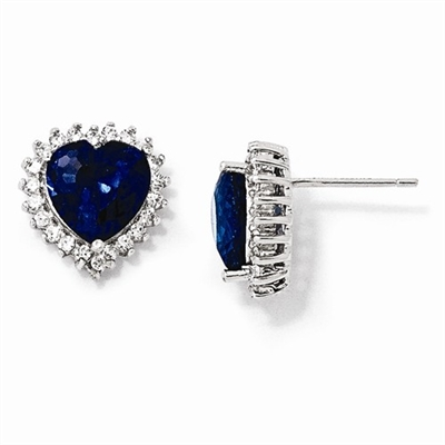 Platinum Plated Sterling Silver Diamond Essence Earrings With Sapphire Essence Heart In Center Surrounded By Round Brilliant Melee.