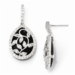 Diamond Essence Leaf Vine Designer Drop Earrings With Pear Cut Onyx Essence Center Surrounded By Round Brilliant Melee In Platinum Plated Sterling Silver.