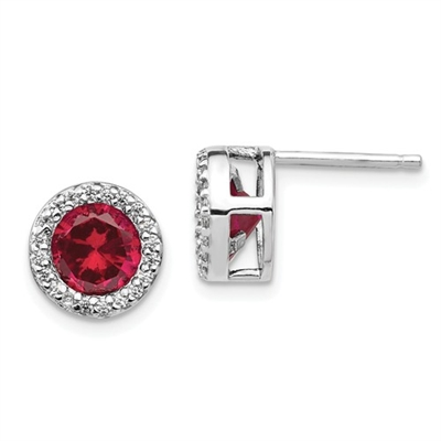 Diamond Essence Stud Earrings With Ruby Essence Round Brilliant Stone Escorted By Brilliant Melee In Platinum Plated Sterling Silver.