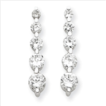Diamond Essence Drop Earring with graduating round brilliant stones, 0.80 Ct.T.W. set in Platinum Plated Sterling Silver. Length 21mm and width 4mm.