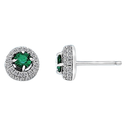 Earrings with 0.25 Ct. Round Cut Emerald Essence in center, surrounded by two rows of Diamond Essence Melee. 1.0 Cts. T.W. set in Platinum Plated Sterling Silver.