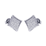 Square earrings set with round accents micro pave setting. 0.25 Cts. T.W. set in Platinum Plated Sterling Silver.