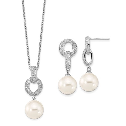 Diamond Essence Pearl Set with Round Brilliant Melee, 2 Cts.t.w. set in Platinum Plated Sterling Silver.
