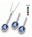 Diamond Essence Designer Earring Pendant Set With Sapphire Oval and Brilliant Melee, 5.0 Cts.t.w In Platinum Plated Sterling Silver.