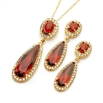 Diamond Essence Garnet Earring and Pendant set, 13.50 Cts.T.W.