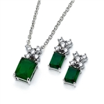 Diamond Essence Emerald Earring and Pendant set. Earrings created with 1.0 ct each Emerald Essence Emerald cut stone with Diamond Essence melee in cross design. Pendant with 2.5 Cts. Emerald Essence Emerald cut stone with melee cross on top. 5.0 Cts.T.W.