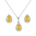 Diamond Essence Canary Earring and Pendant set, 3.75 Cts.T.W.In Platinum Plated Sterling Silver.