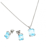 Diamond Essence Earring And Pendant Set With French Cut Aquamarine Essence Stones In Platinum Plated Sterling Silver, 5.50 Cts.T.W.