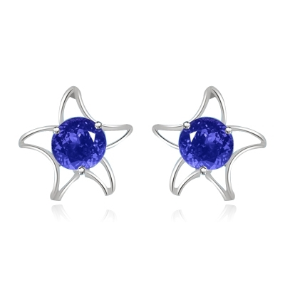 Diamond Essence Designer Earrings with Round Amethyst Essence, 1.50 Cts. T.W. in Platinum Plated Sterling Silver.