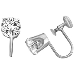 Diamond Essence Platinum Plated Sterling Silver French Backs - SFB001