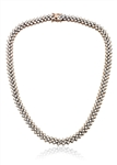 "Diamond Essence 16"" long dazzling necklace. Round brilliant stones, 0.7 ct. each, set in four prong setting of Rose Plated Sterling Silver. 3 rows, 7 mm width, 21.0 cts.t.w. gives brilliant sparkle and just perfect party wear."