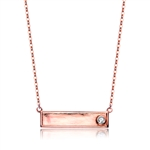 Diamond Essence Necklace With Round Brilliant Stone in Rose Plated Sterling Silver.