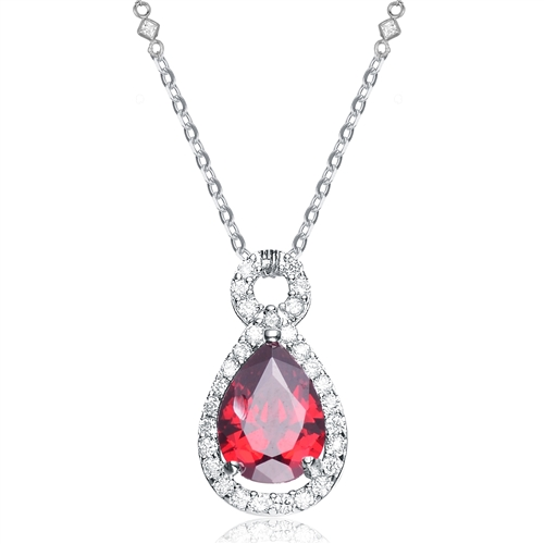 "Diamond Essence delicate necklace with 2 carat Pear shape Ruby Essence with Diamond Essence melee around, on 18"" long chain. 2.25 Cts.t.w in Platinum Plated Sterling Silver."