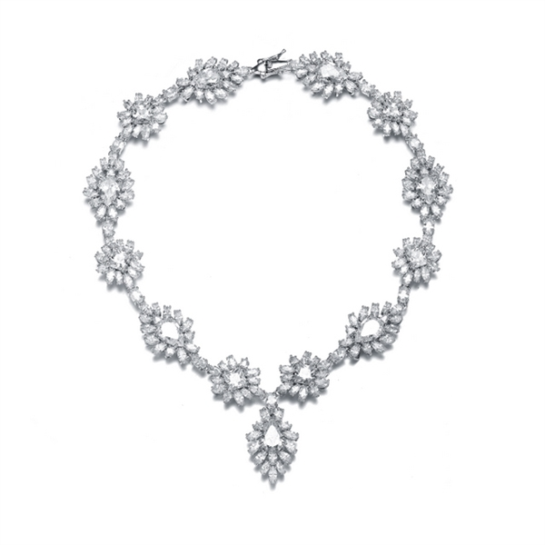 Diamond Essence 65 Cts.T.W Cocktail Necklace, with Brilliant Pear, Princess, Marquise and Oval stones In Platinum Plated Sterling Silver.