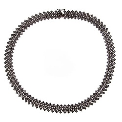 A gorgious necklace of onyx Diamond Essence stones, set in black rhodium plated Sterling Silver. Appx. 45 cts.t.w.