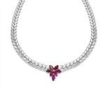 Designer Necklace with Marquise cut Ruby Floral in center and 2 rows of graduating  Marquise Essence all around neckline. Appx. 72.0 Cts.t.w. set in Platinum Plated Sterling Silver.