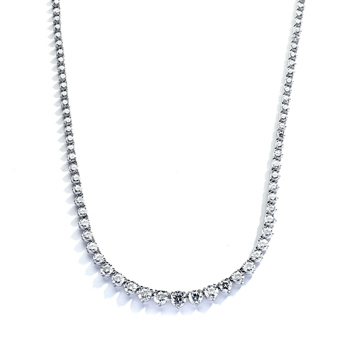 "16"" necklace of graduated round stones in silver"