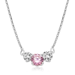 Pink Essence stone accompanied by Diamond Essence stones on each side to make delicate but stunning looking necklace,Platinum Plated Sterling Silver. 4.0 cts. T.W. on 16 inch Silver Chain.