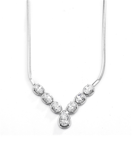 Classic combination of Diamond Essence Oval cut and Pear cut stones set in Platinum Plated Sterling Silver. Necklace suitable for  any occasion.