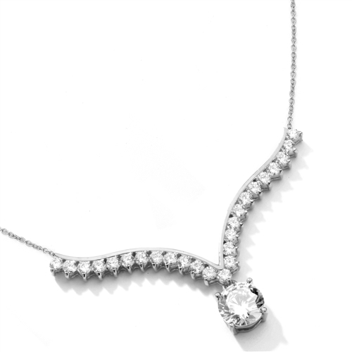 Supreme Necklace that is sure shot eye candy! 2.0 Cts. Brilliant White Diamond Essence Round Dangler atones a curvy melee of Round Brilliants set exquisitely in an Art Deco Setting! 3.50 Cts.T.W. attached with Chain in 14k Solid White Gold.