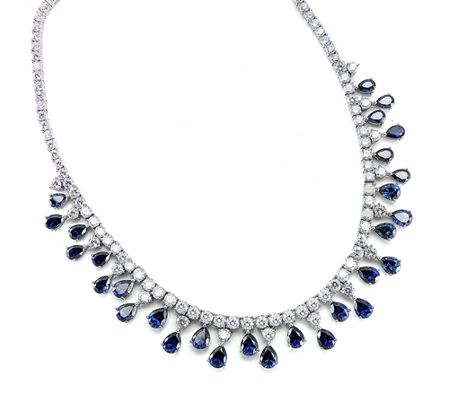 "Diamond Essence dazzling Necklace, 16"" long just perfect for any Occassion. 1.0 Ct. each Sapphire Essence stone dangling from Round Brilliant Diamond Essence stone. Appx. 75.0 cts.t.w. set in Platinum Plated Sterling Silver."