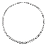 "16"" long Diamond Essence Designer Necklace with Bezel set, graduating Round Brilliant Diamond Essence, appx 26.0 cts.T.W. set in Platinum Plated Sterling Silver."