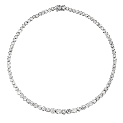 "16"" long Designer Necklace with Bezel set, graduating Round Diamond Essence, appx 18.0 cts.T.W. set in Platinum Plated Sterling Silver."