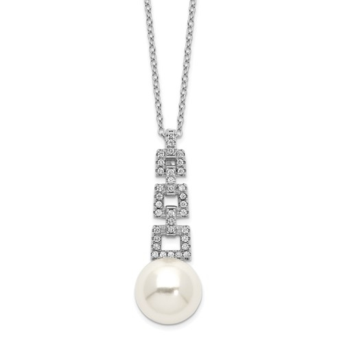 Diamond Essence Round Brilliant Melee and Pearl Pendant, 1.5 Ct.T.W. in Platinum Plated Sterling Silver. Chain Included.
