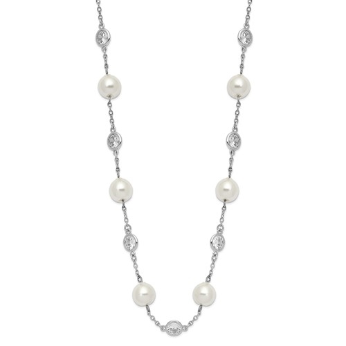 A stunning bezel-set necklace for women with 12 simulated pearls and 11 artificial round brilliant Diamonds  by Diamond Essence set in platinum plated sterling silver. 2.75 Cts.t.w. 7.86 mm width