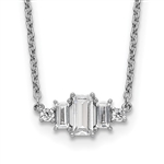 Beautiful Trio Necklace with emerald cut stones and two round diamonds by Diamond Essence set in platinum plated sterling silver, 3.5 cts.t.w.